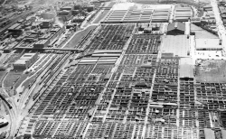 1949 aerial photo of the stockyards