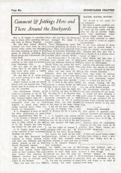 Page out of the local goings-on in the Stockyards in the summer of 1956. This is page 6 out of the Stockyards Chatter.