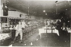 Photo of the Maverick Saloon and Cafe, on the corner of E. Exchange and N. Main.